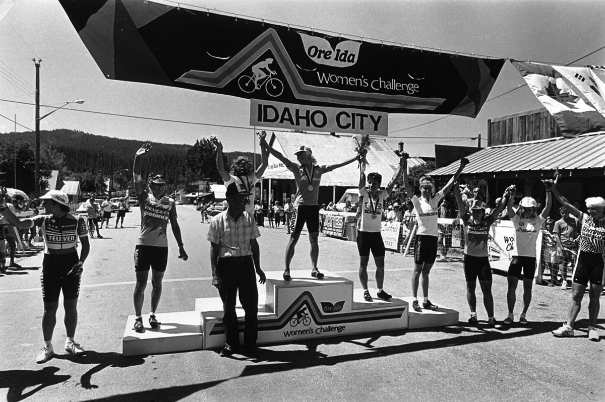 The finish line podium at the 1986 Women's Challenge in Idaho City, Idaho.